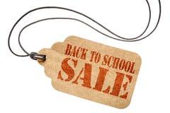 Di nuovo al segno di vendita della scuola sul prezzo da pagare isolato Fotografia Stock Libera da Diritti