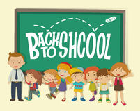 Di nuovo al tema della scuola con l'insegnante e gli studenti Fotografie Stock
