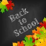 Di nuovo al tema della scuola sulla lavagna nera con le foglie variopinte Fotografia Stock