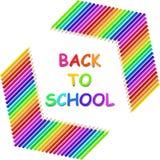 Di nuovo al testo di scuola con le matite colorate royalty illustrazione gratis
