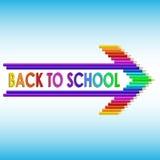 Di nuovo al testo di scuola con le matite colorate illustrazione vettoriale