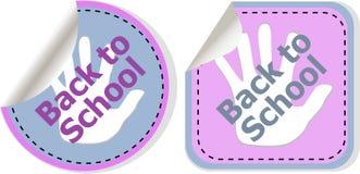 Di nuovo al testo di scuola sull'etichetta dell'etichetta gli autoadesivi hanno messo isolato su bianco Fotografie Stock