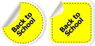 Di nuovo al testo di scuola sull'etichetta dell'etichetta gli autoadesivi hanno messo isolato su bianco Immagine Stock