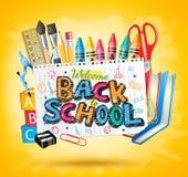 Di nuovo al testo variopinto della scuola in Libro Bianco con gli elementi della scuola illustrazione di stock
