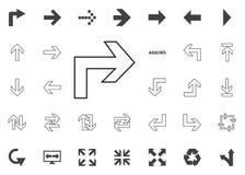 Di nuovo all'icona della freccia a destra Icone dell'illustrazione della freccia messe immagine stock libera da diritti