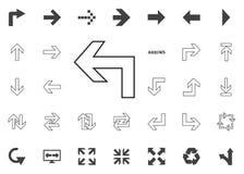 Di nuovo all'icona della freccia sinistra Icone dell'illustrazione della freccia messe immagine stock libera da diritti