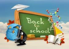 Di nuovo all'illustrazione della scuola su bianco e su blu Immagine Stock Libera da Diritti