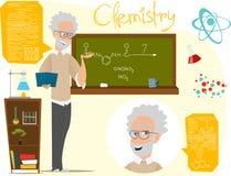 Di nuovo all'illustrazione di vettore del banco Lezione di chimica esperimenti Infographics ENV 10 Fotografie Stock Libere da Diritti