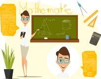 Di nuovo all'illustrazione di vettore del banco Lezione di per la matematica Matematica di Infographics ENV 10 Fotografia Stock Libera da Diritti
