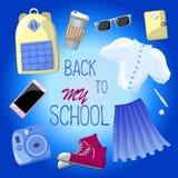 Di nuovo all'illustrazione di vettore della scuola sul blu Sguardo di modo dei pantaloni a vita bassa Fotografia Stock