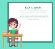 Di nuovo all'illustrazione di vettore della scuola con lo scolaro Fotografia Stock