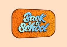 Di nuovo all'illustrazione di vettore della scuola nell'iscrizione dello stile con lettere Progettazione dell'illustrazione di ve illustrazione di stock