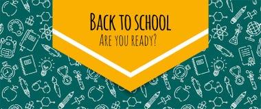 Di nuovo all'insegna di scuola con il modello dei rifornimenti di scuola Benvenuto di nuovo all'opuscolo della scuola Insegna gia fotografia stock