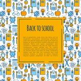 Di nuovo all'insegna di scuola con il modello dei rifornimenti di scuola Benvenuto di nuovo all'opuscolo della scuola Insegna gia illustrazione vettoriale