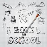 Di nuovo all'insieme della scuola delle illustrazioni di scarabocchio della scuola Fotografia Stock Libera da Diritti