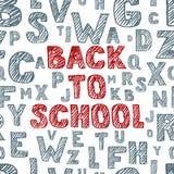 Di nuovo all'iscrizione disegnata a mano di schizzo di vettore della scuola Fondo senza cuciture con l'alfabeto Graffiato e covan Immagini Stock