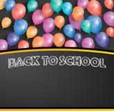 Di nuovo alla carta della scuola con i palloni di volo e lo spazio della copia royalty illustrazione gratis