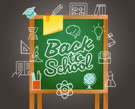 Di nuovo alla cartolina d'auguri della scuola Di nuovo al banco Fotografie Stock