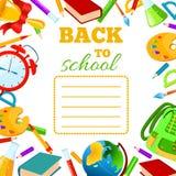 Di nuovo alla copertura della scuola per il quaderno dei bambini Fotografia Stock