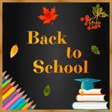 Di nuovo alla lavagna del fondo della scuola, alle foglie di autunno, alle matite, al cappuccio laureato, ai libri ed al testo illustrazione di stock