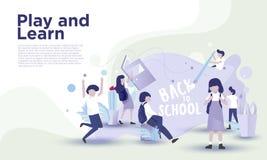 Di nuovo alla pagina di atterraggio della scuola illustrazione di stock