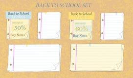 Di nuovo alla raccolta di risparmio della carta per appunti della scuola illustrazione vettoriale