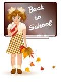Di nuovo alla ragazza del banco con i fogli di autunno Fotografia Stock Libera da Diritti