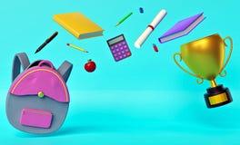 Di nuovo alla rappresentazione del fondo 3d di concetto della scuola illustrazione di stock