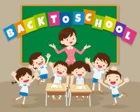 Di nuovo alla scuola con l'insegnante e l'allievo Fotografie Stock
