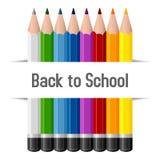Di nuovo alla scuola disegnano a matita il fondo Fotografia Stock Libera da Diritti