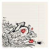 Di nuovo alla scuola il primitivo ingenuo scarabocchia disegnato a mano con inchiostro Immagini Stock Libere da Diritti
