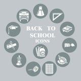 Di nuovo alla scuola le icone piane hanno messo, cerchio grigio Fotografie Stock Libere da Diritti