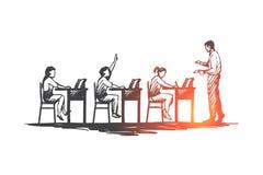 Di nuovo alla scuola, studio, istruzione, conoscenza, imparante concetto Vettore isolato disegnato a mano illustrazione di stock