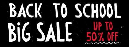 Di nuovo alla vendita del banco Lavagna con la mano bianca e rossa scritta le lettere Fino a 50% fuori illustrazione di stock
