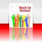 Di nuovo alle mani di parola e della gente della scuola, cuori di amore, istruzione Fotografie Stock Libere da Diritti