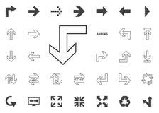 Di nuovo giù all'icona della freccia Icone dell'illustrazione della freccia messe fotografie stock libere da diritti