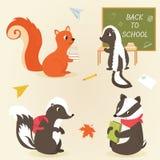 Di nuovo a progettazione animale di istruzione di caratteri della scuola illustrazione di stock