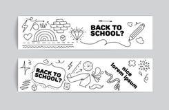 Di nuovo a progettazione dell'insegna di scuola Doodles disegnati a mano Fotografia Stock Libera da Diritti