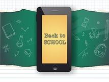 Di nuovo a progettazione di vendita della scuola Telefono cellulare e scarabocchi Fotografia Stock