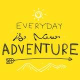 Di ogni giorno è la nuova illustrazione di vettore di parola di avventura royalty illustrazione gratis