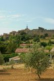 Di olivo e un villaggio francese Fotografia Stock Libera da Diritti