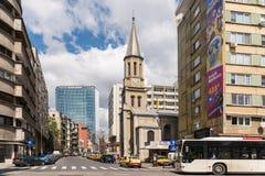 Di ora di punta di traffico città dentro della città di Bucarest Fotografia Stock