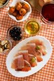 Di Parma de Prosciutto, aperitivo italiano fotos de stock royalty free