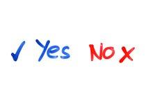 Di parola nessun sì scritto sulla lavagna fotografia stock libera da diritti