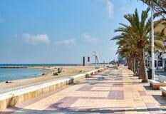 di passeggiata e di spiaggia foderate di palma del EL Campello Fotografia Stock Libera da Diritti