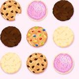 Di pepita di cioccolato, zucchero, fondo di ripetizione senza cuciture del biscotto del fondente Immagini Stock