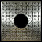 Di piastra metallica con i fori sulla foto di concetto del nero dell'isolato Fotografia Stock Libera da Diritti