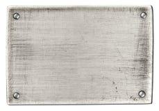 Di piastra metallica d'acciaio con i ribattini isolati con il percorso di residuo della potatura meccanica Fotografia Stock