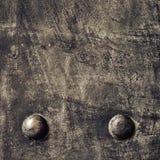 Di piastra metallica nero di lerciume con i ribattini avvita la struttura del fondo Fotografia Stock