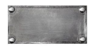 Di piastra metallica su fondo bianco Fotografia Stock